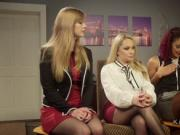 Threesome lebian anal with strap on dildo in office