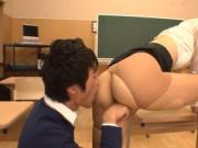 Busty Japanese shows her bottoms