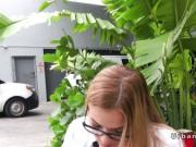 Blonde picked up in public while smoking