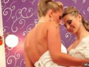 Hot blonde bride gets her sweet shaved pussy licked by