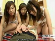 Subtitles POV CFNM Japanese footjob and handjob party