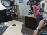 Pawn shop owner scores a cute latina teen in his own st