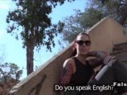 Tattooed redhead sucks cock to fake cop outdoor