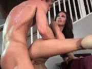 Hot brunette babe goes crazy riding an hard cock by Tru