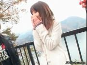 Cute shy Japanese girl flashing her tits in public by J