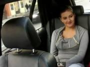 Busty babe fucked and fingered in taxi