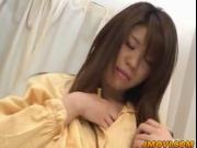 Stunning teen Megu Hayasaka wakes up horny and plays wi