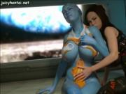 Animated babe enjoys shemale cock