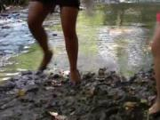 two nasty babes in the river gets horny when uses mud 3