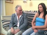 Old guy seduces young babe