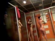 Many naked amateurs in public Shower room