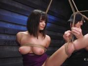 Busty babe gets threesome slave training
