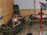 Military guys fuck each other on service in the bathroo