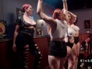 Three lesbian slaves whipped in dyke bar