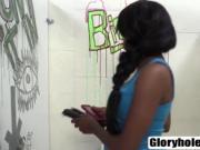 Interracial blowjob through a glory hole with Brie Simo