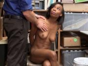 LP Officer screwing Ivory Logans ebony pussy on top