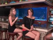 Three hot girls in mini skirt getting drunk in a bar by