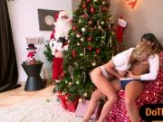 Sophia Leone and Alexis Fawx shared Santa's huge cock