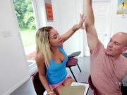 Petite student bangs huge dick in classroom