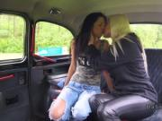 Brunette changing in female fake taxi