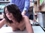 Tiny brunette Kat Arina fucks with horny detective