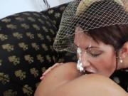 Hot lesbians fill up their big asses with milk and ejac