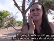 Busty babe sucks cops dick in secluded area