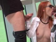 Romanian redhead Luna Melba double fucked by big cocks
