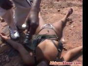 Nasty African bitch bonded and abused in the middle of