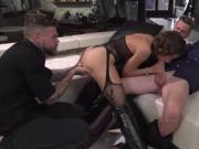 Huge boobs tattooed woman Malena double anal gangbang
