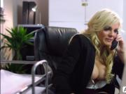 Naughty bigtits Katy Jayne rides bigcock on the office