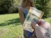 Outside fuck with broke shy blonde