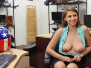 Slutty blonde Ivy Rose flashes bigtits in the office