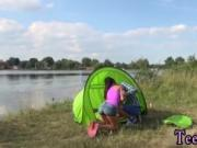 Brutal teen Eveline getting pounded on camping site