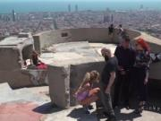 Blonde sucking dick at Barcelona view