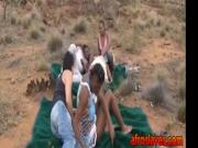Ebony slave girl fucked by two guys in the nature