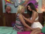 Hot mom and pretty teen girl munching pussy in the bedr