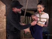 Tattooed slut got brutal flogging