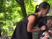 Hungarain babe face fucked in the park
