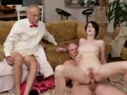 Old man young girl anal gangbang Frannkie goes down the