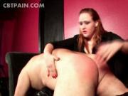 Dirty BDSM mistress slapping male ass
