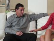 Molly Manson rides step dads cock on top