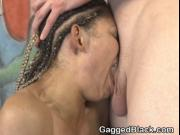 Braided Black Slut Cree Morena Gagging On White Cocks