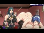 Busty hentai maid gets shoved bilyard balls into her pu