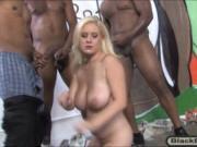 Lusty big boobs blonde hoe Cindee sucked many black coc
