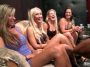 Pack of horny women getting a big black stripper cock b