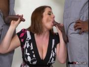 Horny Cougar Maggie Green Blows Two Black Cocks
