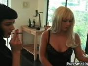 Two sexy babes Layla Jade and Mary Jane are smoking cig