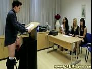 CFNM femdom humiliates her subject in front of voyeurs