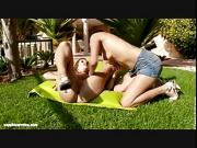 Adela and Cate outdoor lez play